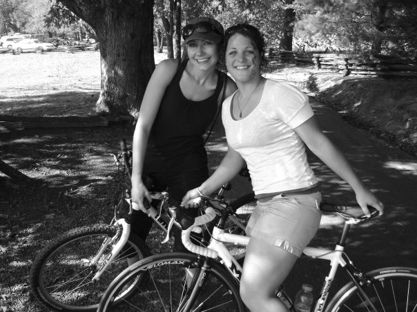 Amy West and sister in law ride bikes in Cades Cove, TN