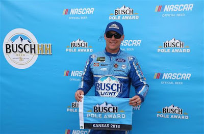 Kevin Harvick won the Busch Pole Award for the Monster Energy  NASCAR Cup Series KC Masterpiece 400 with a lap of 188.811 mph