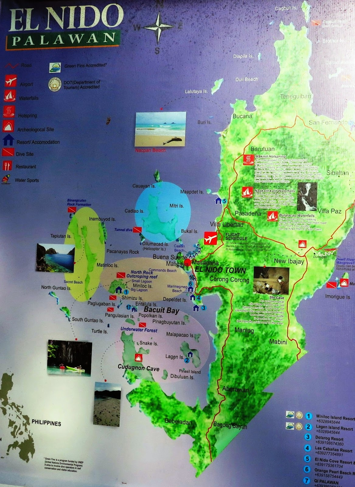 el nido map, el nido palawan, map el nido, el nido tourist guide, el nido tourist attractions, el nido islands
