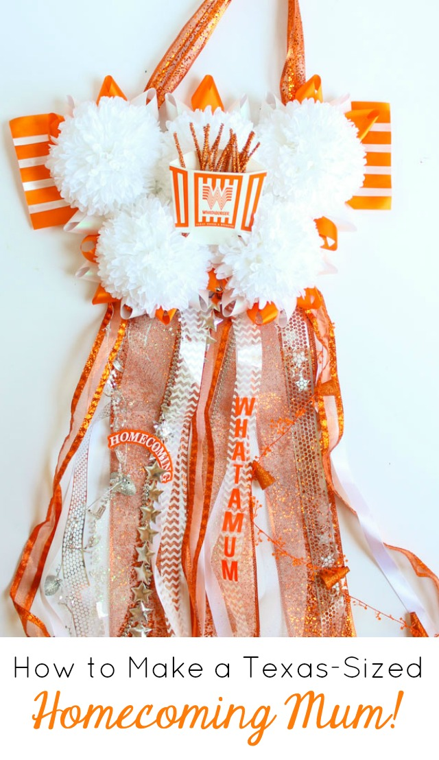 How to make a Texas sized Homecoming mum! #homecomingmum #whatamum #whataburger