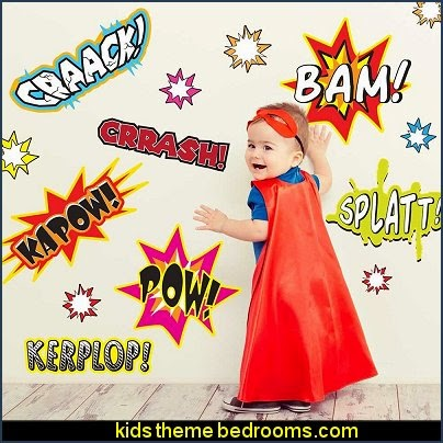 Kapow! Wall Decal Kit - Comic Book Words Wall Decal batman bedrooms - batman bedroom decorating ideas -  batman furniture - batman murals - batman wall decals - batman bedding - batmobile bed - Batman room decor - batman pajamas -  batcave DC Comics Batman -  batman comics themed bedrooms -  Batman vs Superman Bedrooms - Superhero bedroom ideas -