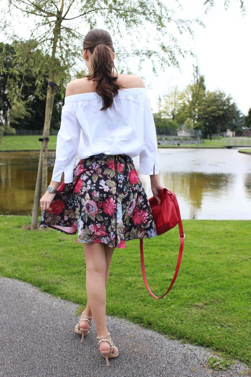 girly style, floral skater skirt, off the shoulder top