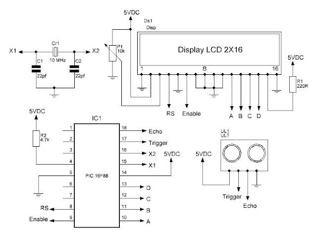 Diagrama esquemático para el proyecto de ultrasonido.
