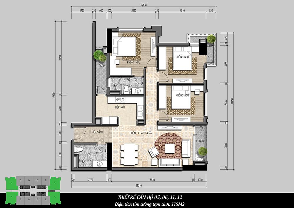 mặt bằng căn hộ 3pn dự án iris garden