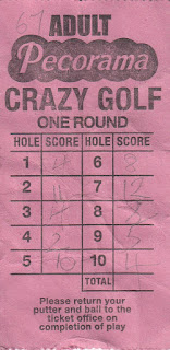 Pecorama Crazy Golf course scorecard from Beer, Devon. Courtesy of Nigel & Ruth Lutt, 2017