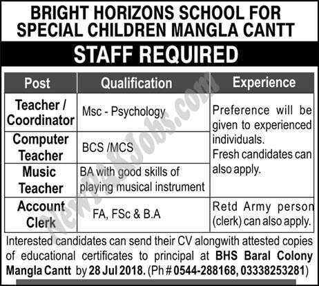 Bright Horizons School For Special Children Mangla Cantt Today Latest jobs
