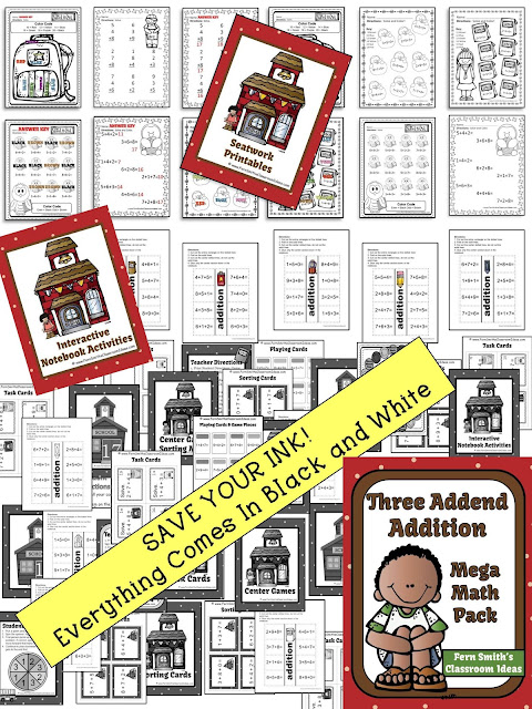 Fern Smith's Classroom Ideas Three Addend Addition Center Games, Task Cards, Recording Sheets, Board Game, Interactive Notebook Activities, Color By Number Printable Worksheets and Answer Keys!