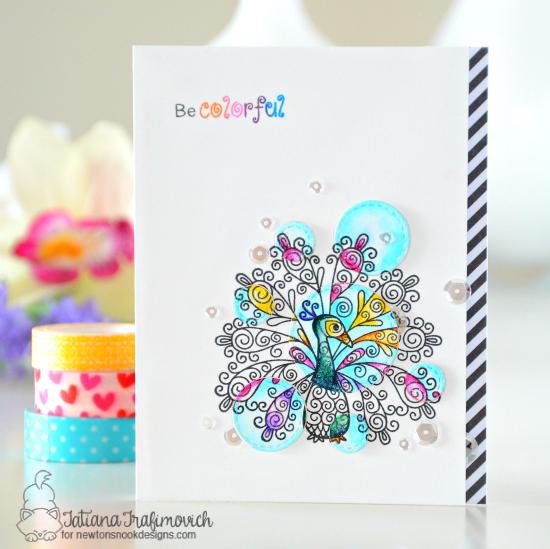 Peacock spotlight card by Tatiana Trafimovich | Beautiful Plumage Stamp set by Newton's Nook Designs #newtonsnook