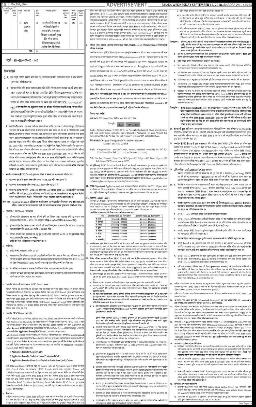 Bangladesh Public Service Commission (BPSC) 40th BCS Recruitment Circular 2018