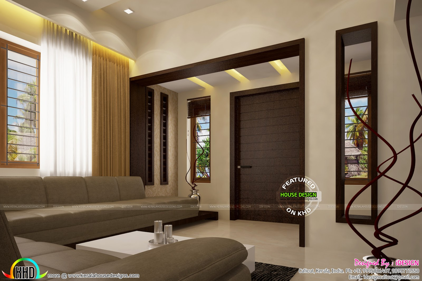 false ceiling designs for living room very small with tv living, dining, wash area and kitchen - kerala home design ...