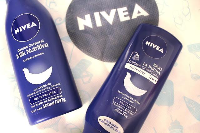 NIVEA bajo la ducha y milk nutritiva