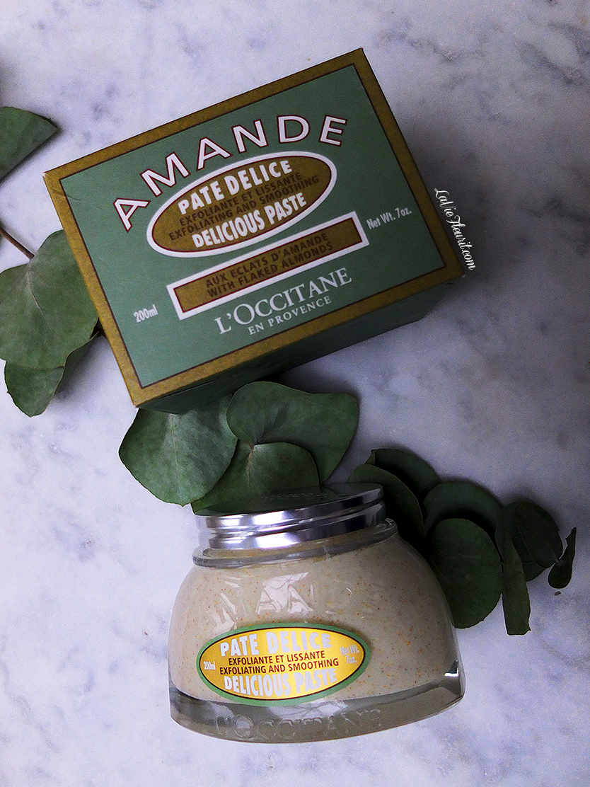 l'occitane, beauty, beautyblog, beautyblogger, scrub, skin, body, body butter, amande, delicious paste, exfoliating, mode, favourite, flaylay, photography, beautyphotography, LaVieFleurit.com,