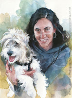 Girl and dog watercolor portrait