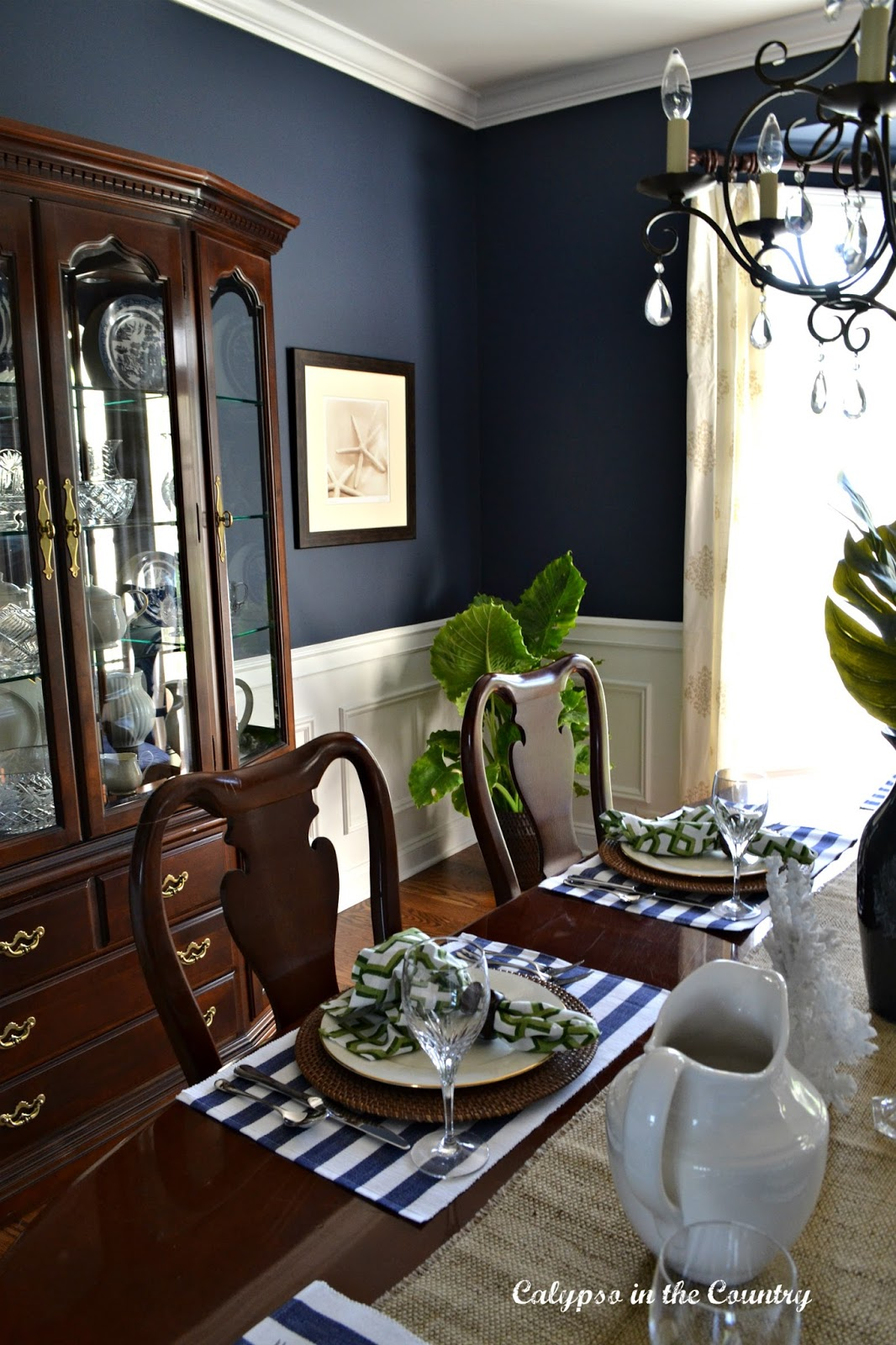 Navy Dining Room Coastal Style