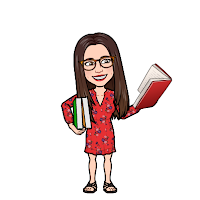 Miss Lawrence's Bitmojo cartoon avatar, a woman in big glasses with long brown hair, wearing a red dress, holds up a book and has two more tucked under her arm.