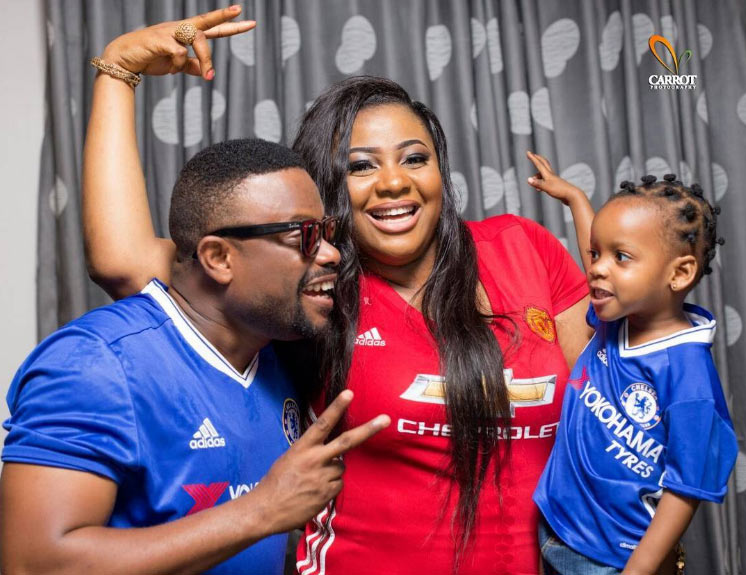 Imeh Bishop and family in adorable football groupie as they mark 3rd wedding anniversary