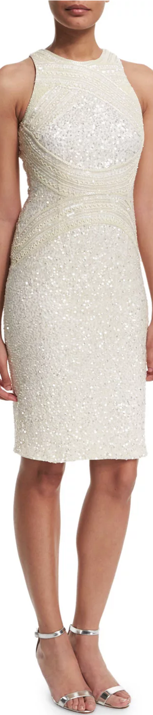 Rachel Gilbert Aubree Embellished Sheath Dress, Ivory