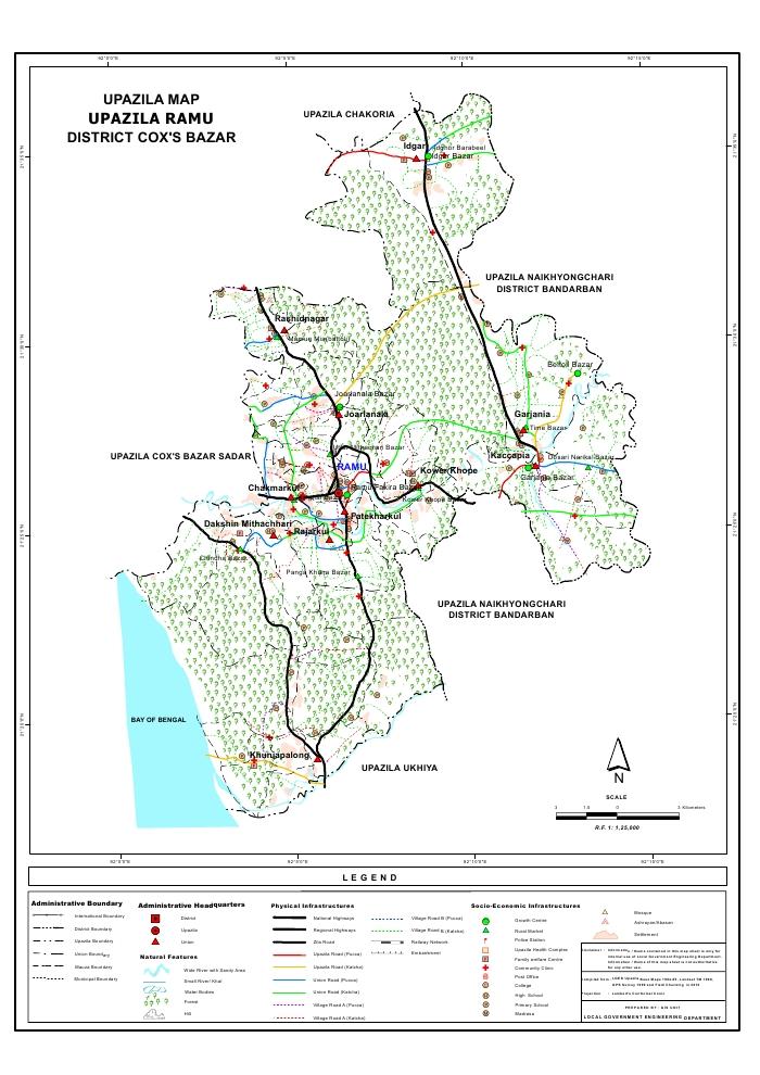 Ramu Upazila Map Cox's Bazar District Bangladesh