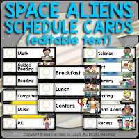 Space Classroom Decor Theme: schedule cards (EDITABLE in Powerpoint)