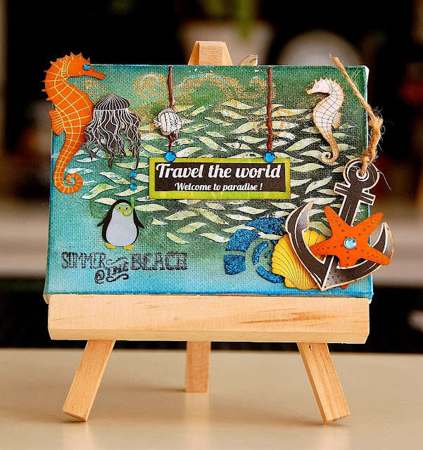 Travel The World Altered Canvas by Irene Tan using BoBunny Make A Splash Collection