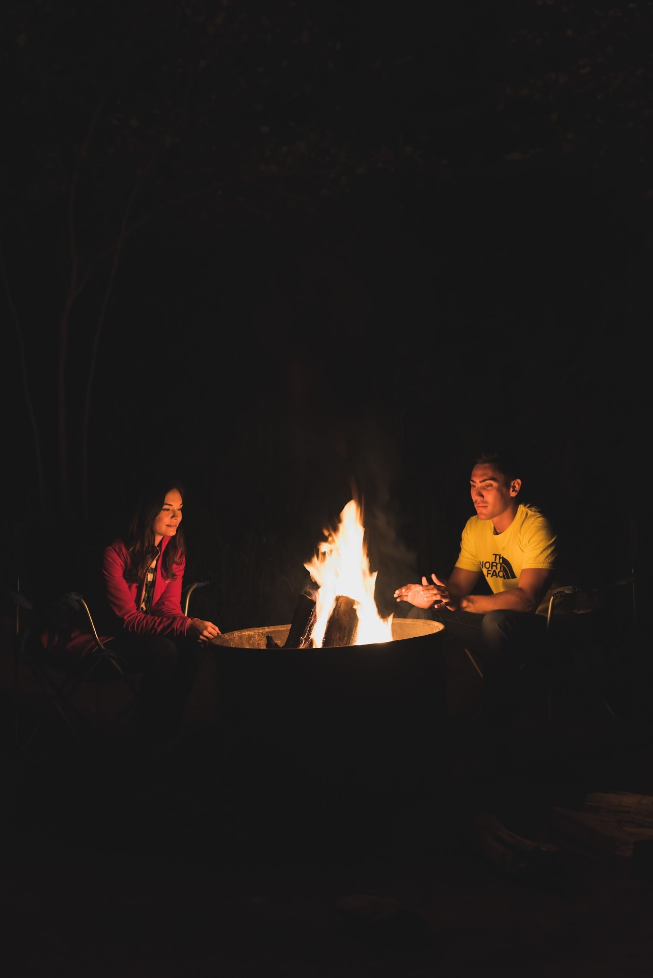 travel blogger, couple, camping couple, camp fire, photography, night, where to camp in big sur, pfieffer state park