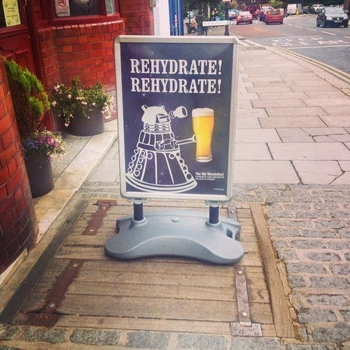 funny pub sign rehydrating dalek