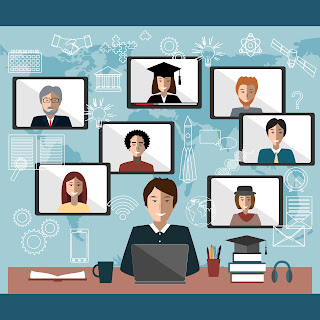 illustration of an online student and images of grads, instructors and support staff behind him.