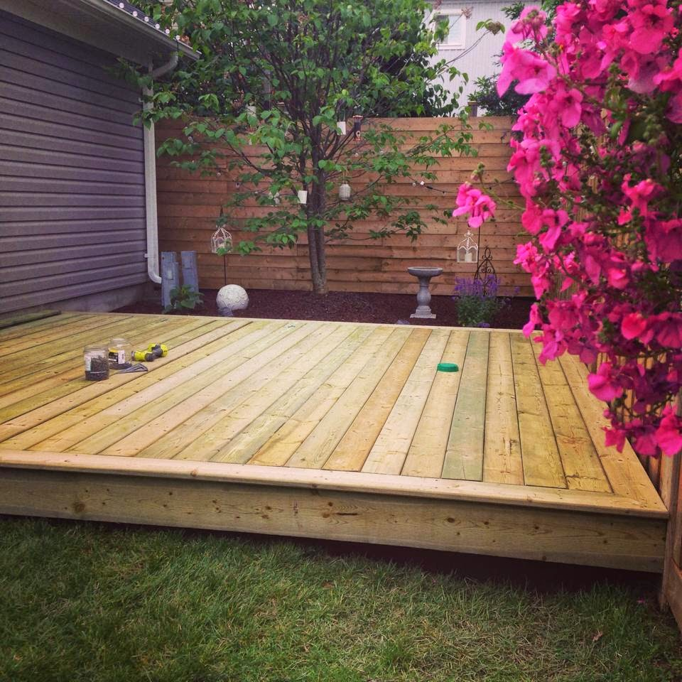 White wood our new outdoor room and platform deck for Backyard deck designs pictures