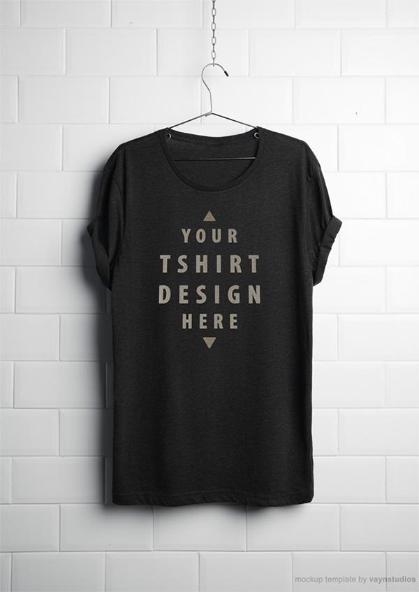 Download T-shirt Mockup PSD Terbaru Gratis - Free Realistic Hanging T-Shirt Mockup PSD