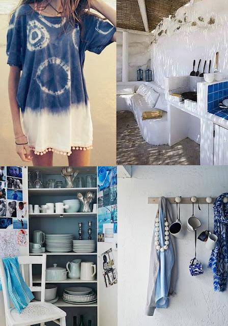 Couleurs d'été préférée - moodboard bleu et blanc