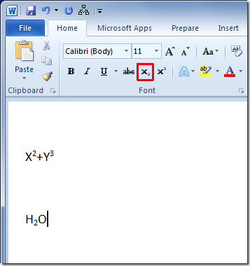 SuperScript And Sub Script In Word 2010 ~ Microsoft Office