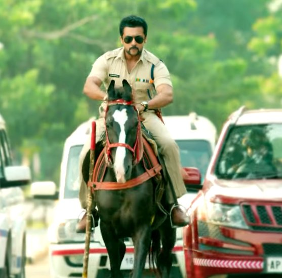 surya horse riding still from s3 tamil movie