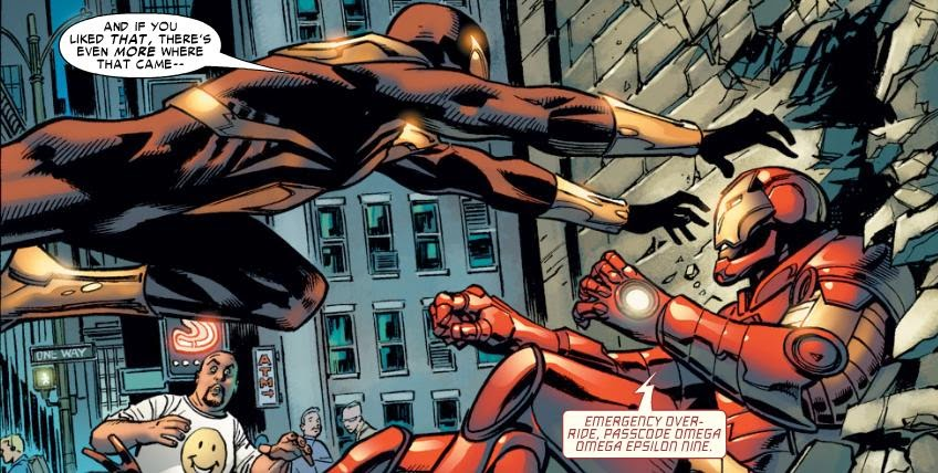 Spider-Man as the Iron Spider fights Iron Man in the Marvel Civil War storyline.