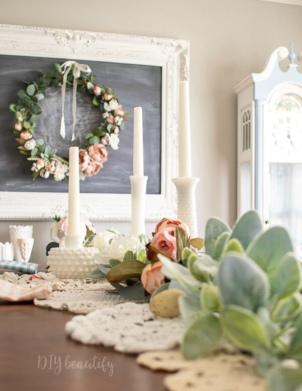 lambs ear garland for Spring tablescape