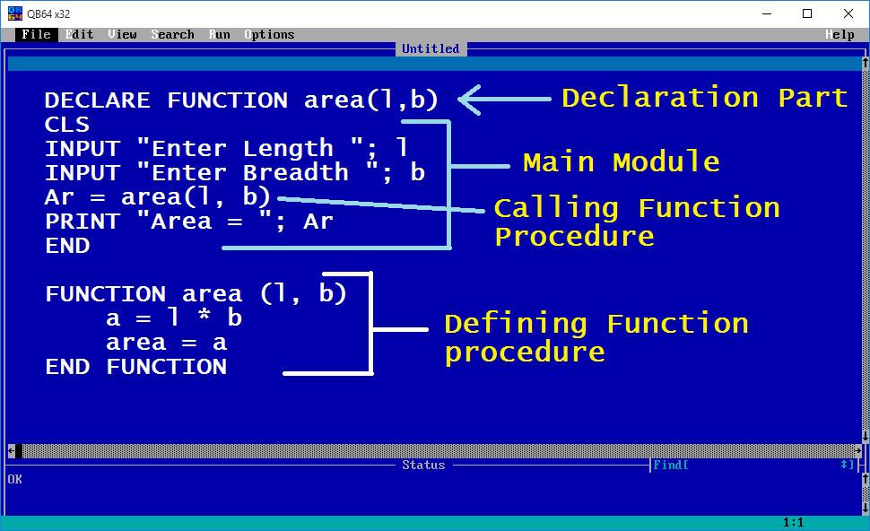 FUNCTION Procedure (QBASIC) - Tech School