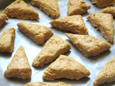 Starbucks inspired Pumpkin Scone recipe: separate dough triangles and place on baking sheet