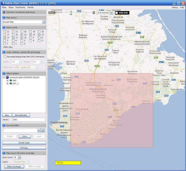 Создание карт для навигаторов при помощи программы Mobile Atlas Creator