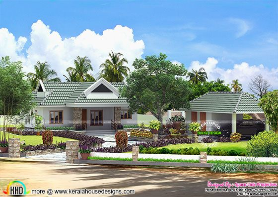 Small Kerala home design with landscape garden