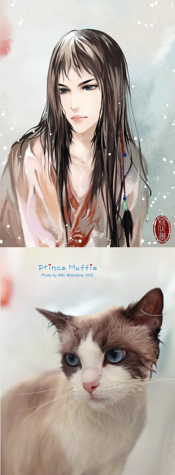 Kot narysowany jako kobieta z anime 07