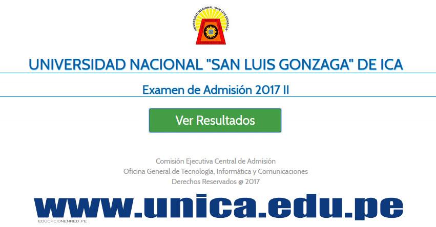 UNICA Publicó Resultados Examen Admisión 2017-2 (Jueves 28 Diciembre) Ingresantes por Carrera Profesional - Universidad Nacional San Luis Gonzaga de Ica - www.unica.edu.pe