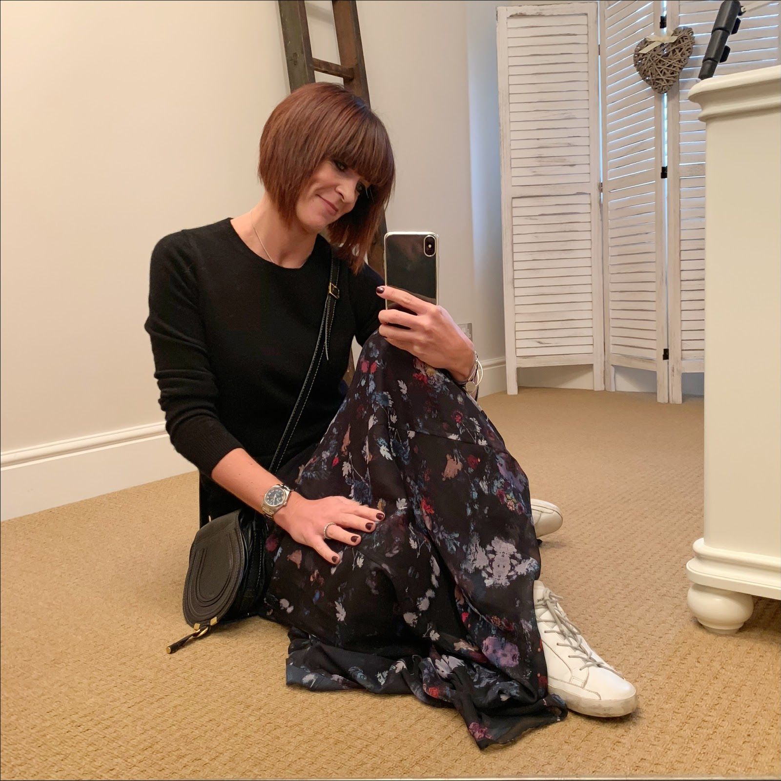 my midlife fashion, marks and spencer pure cashmere crew neck jumper, chloe small marcie cross body bag, lily and lionel floral maxi skirt, golden goose superstar low top leather trainers