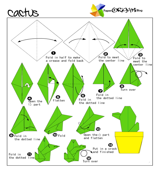 Paper Origami : Cactus Flowers | Paper Origami Guide - photo#44