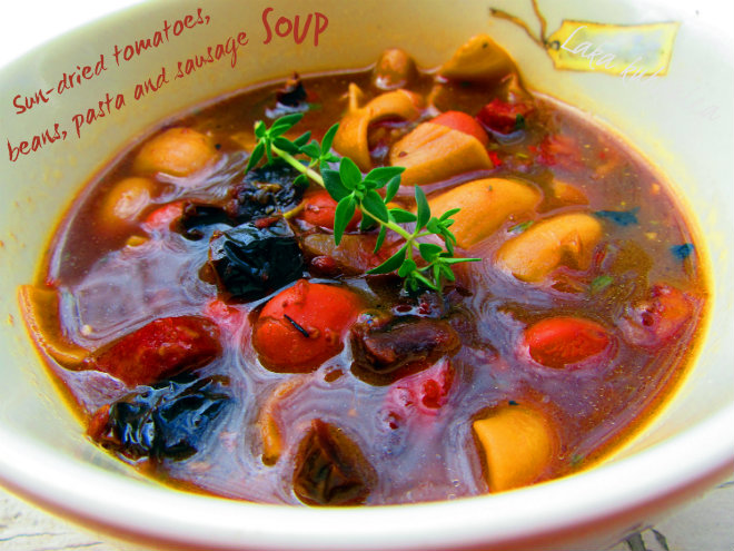 Sun-dried tomatoes, beans, pasta and sausage soup by Laka kuharica: delicious soup packed with fresh and sun-dried tomatoes.