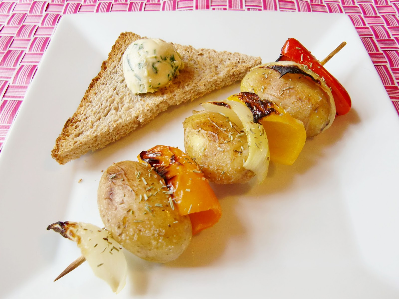 Rezept Gegrillter Gemüsespieß mit Kräuterbutter