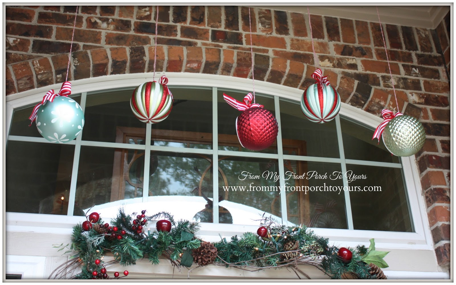 Hanging Large Ornaments-Simple Vintage Christmas Front Porch- From My Front Porch To Yours