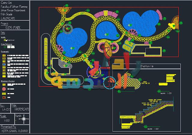 مخطط تصميم حديقة المناظر الطبيعية dwg