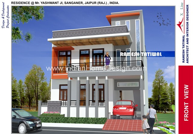 Modern north indian style villa design indian home for North indian house designs photos