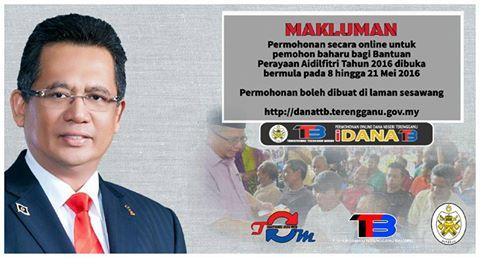 Permohonan Online Bantuan Aidilfitri Terengganu 2016  , Permohonan Wang Ehsan Terengganu , Permohonan Dana Raya Terengganu