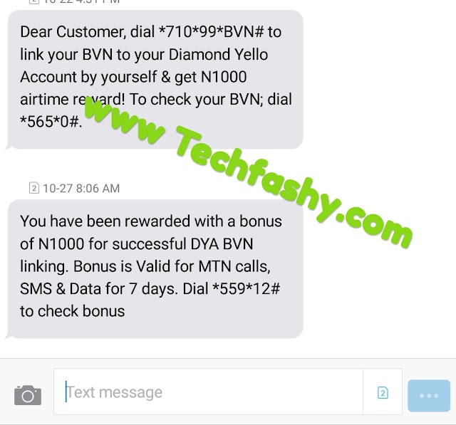 Link Your BVN To Diamond Yello Account And Get N1000 Airtime