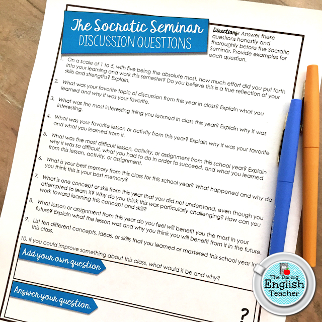 Free Socratic Seminar questions to help students review at the end of the year.